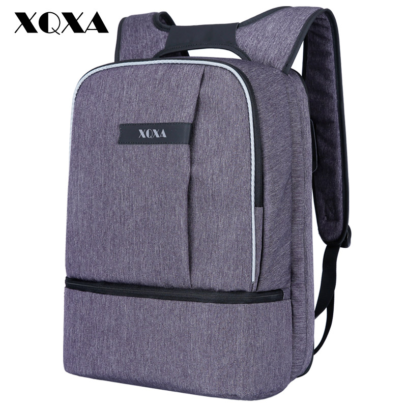 XQXA Anti theft Waterproof Backpack for Men Business 15.6 inch Laptop Daypack Bag for Male Mochila Leisure Travel Backpack Gray