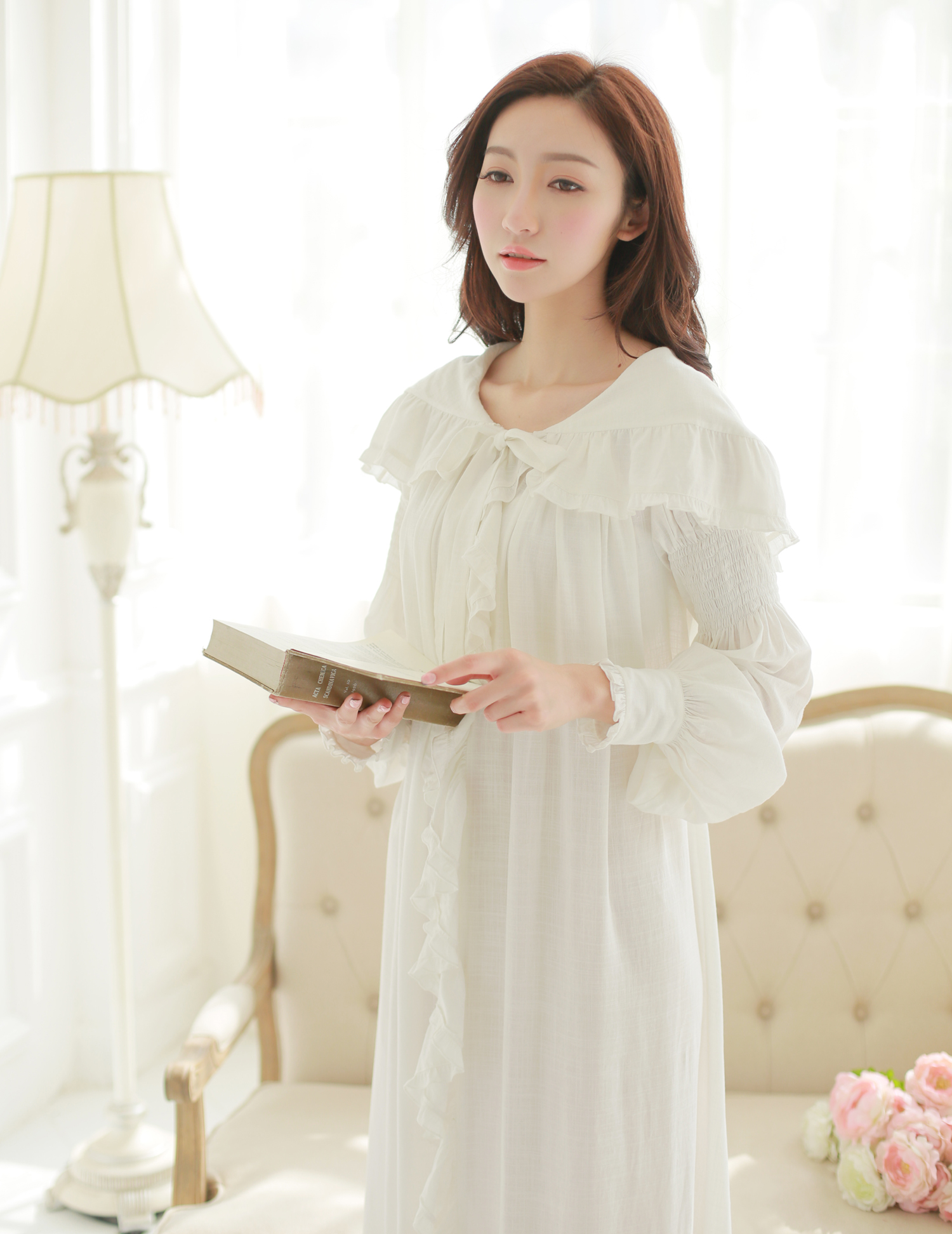 Free Shipping Linen And Cotton Princess Style Women\'s White ...