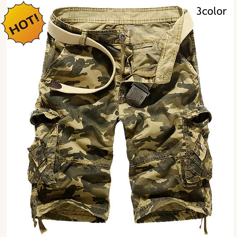 Outdoors 2017 HOT Loose khaki/Sky Blue/Army Green Cotton Cargo Shorts Tactical Camouflage Mountain Jungle Short Trousers Men