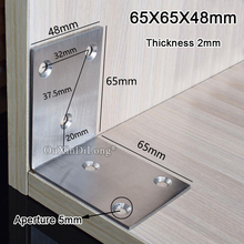 High Quality 20PCS Stainless Steel Right Angle Bracket Corner Braces Joint Shelf Support L Shape Furniture Connectors 65X65X48mm цена