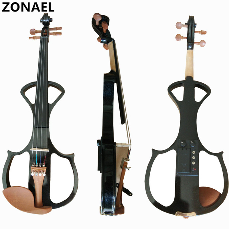 ZONAEL 4/4 Electric Violin Fiddle Stringed Instrument Basswood with Fittings Cable Headphone Case For Music Lovers Beginners