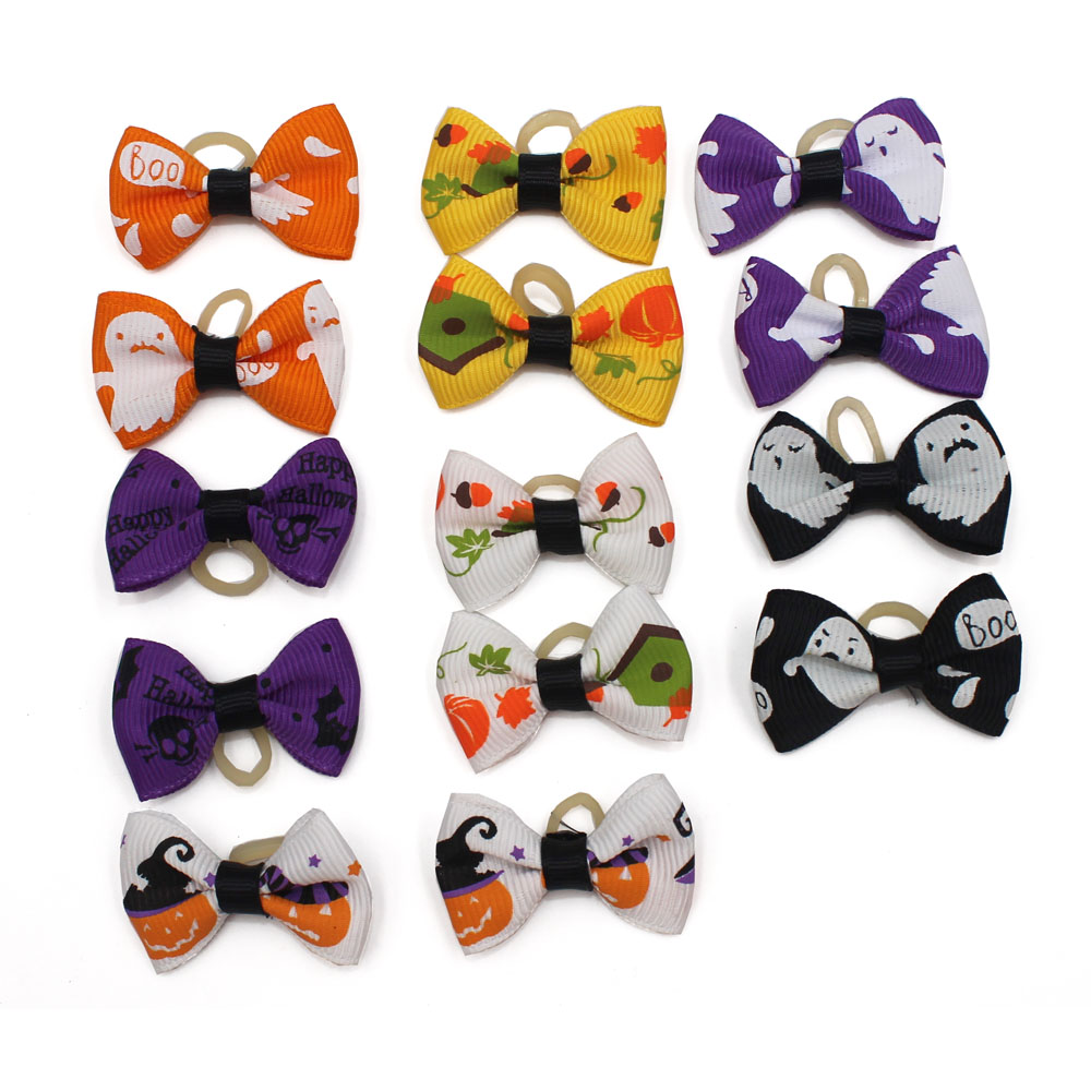 14PCS/ pack of halloween-style pet dog and cat hair bows with rubber bands grooming accessories cute OR022