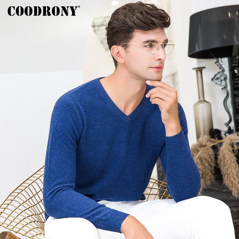 COODRONY Mens Pullover Merino-Wool-Sweater Cashmere V-Neck Winter Casual Warm Soft 8344