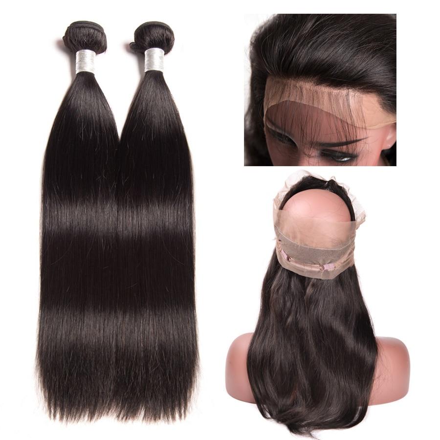 Brazilian Straight Hair 360 Snörning Frontal Closure With Bundles - Mänskligt hår (svart)