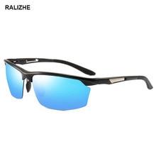 2019 Mens New Aluminum Magnesium Polarized Sunglasses Half Frame Outdoor Goggles Sports Sun Glasses Light Flash Blue UV400 Lens цена