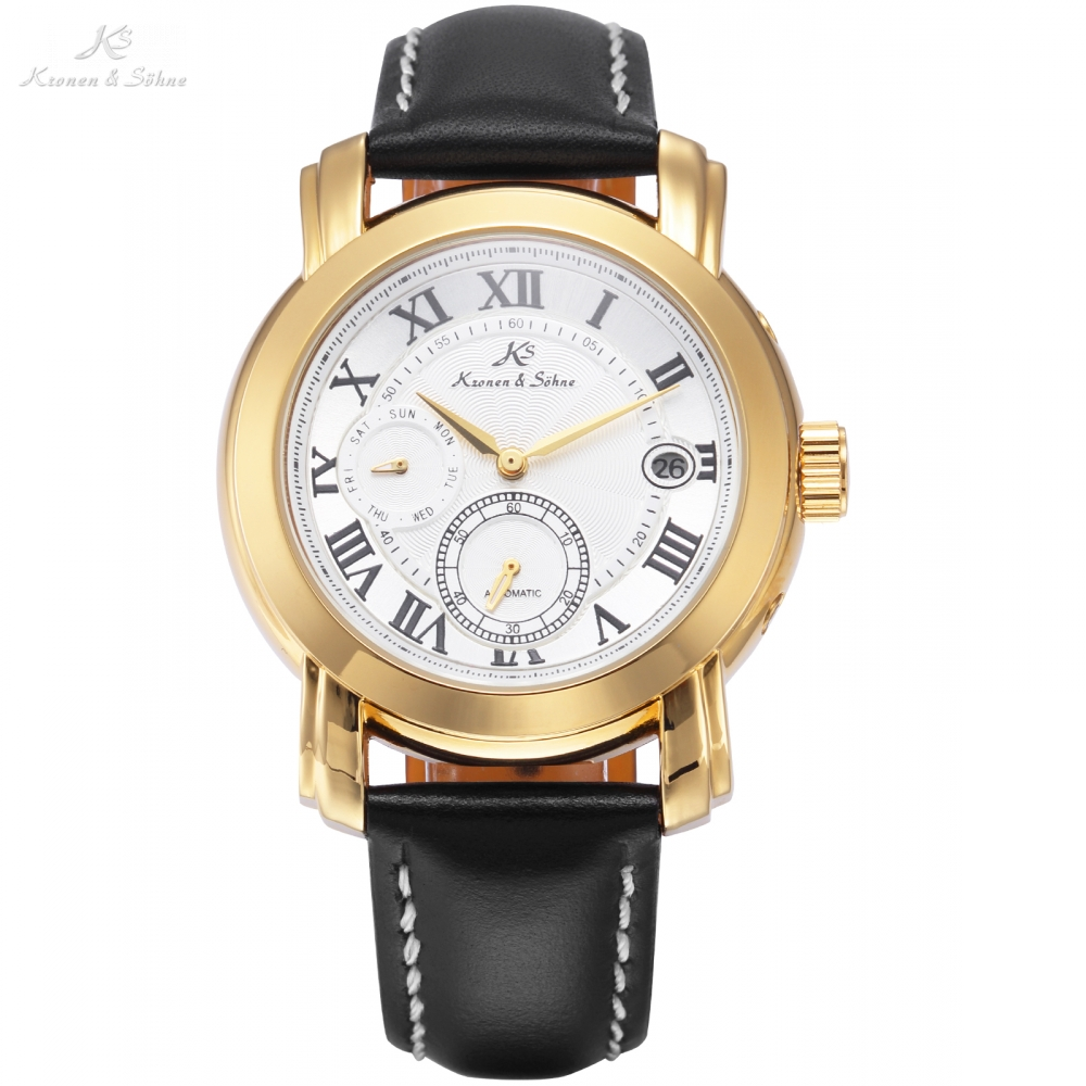 Luxury KS Automatic Watch Self Winding Golden Case Roman Date Day Men Black Leather Strap Mechanical Dress Wrist Watches / KS275 ultra luxury 2 3 5 modes german motor watch winder white color wooden black pu leater inside automatic watch winder