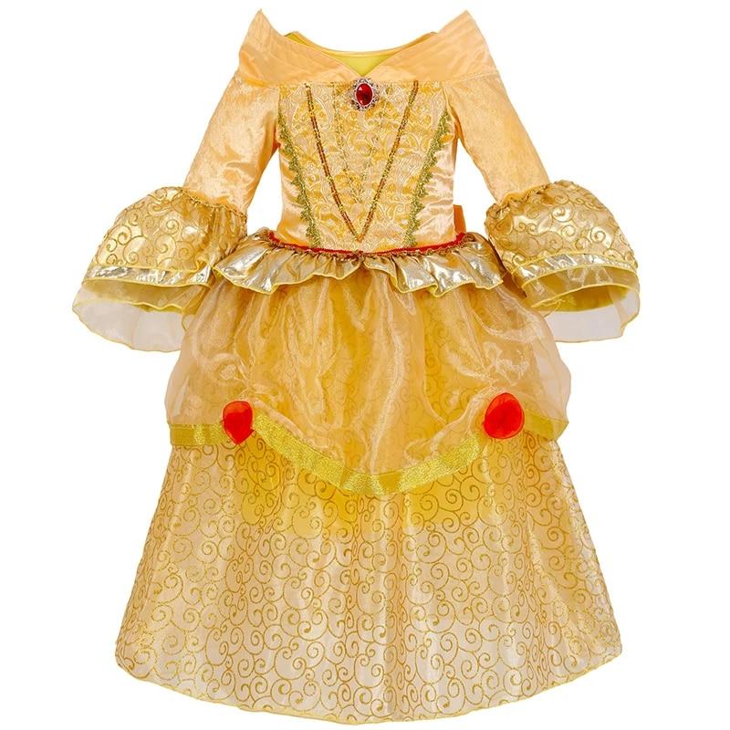 Nouveau Belle au bois dormant princesse Costume fille robe jaune princesse CY-19