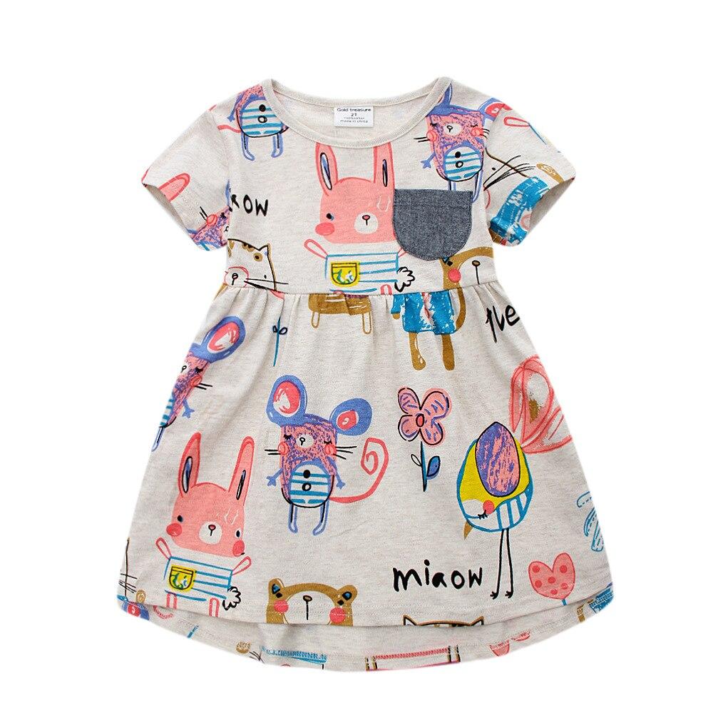 2017 New Kids Clothings Girls Short sleeve cartoon dress 6pcslot