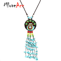 MloveAcc Ethnic Handmade Chinese Traditional Braided Pendant Necklace Women Natural Stone Sea Star Charms Long Tassel