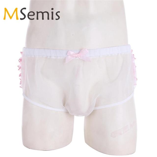 618c0527f MSemis Men Sissy Lingerie Frilly Ruffle Lace Sissy Pouch Panties Organza Sissy  Briefs Underwear Gay Jockstrap