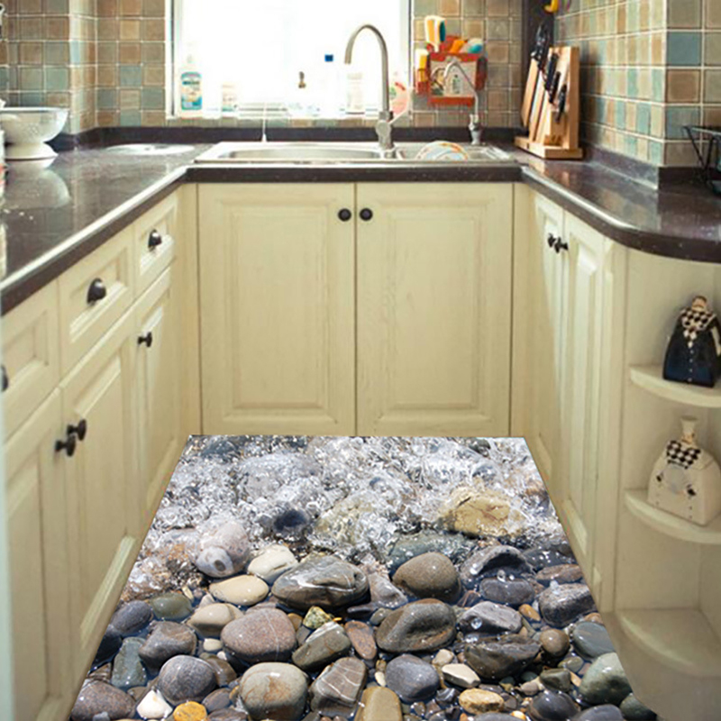 Cobblestone Sand Beach Floor Sticker Blue Sea Shell Kitchen Stream Wave  Waterproof 3D DIY Room Home