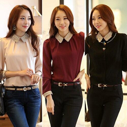 Silent Streets Store New Arrival Women's Fashion Doll Collar T-shirt Chiffon Long Sleeve Casual Shirt Top