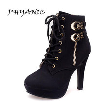 Women boots super-elevation rivet high-heeled platform lacing thin heels ankle martin female shoes winter #9818