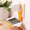 Folding Mobile Cell Phone Holder Wall Charger Hanger phone Charger Holder Bracket Stands for iPhone 6s Plus random color