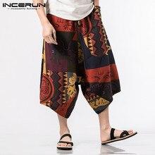 INCERUN S-5XL Trousers Men Print Wide Leg Loose Harem Pants Cotton Hip-hop Joggers Casual Ethnic Retro Calf-length Pants 2018