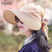 COKK Sun Hat Summer Hats For Women Foldable Uv Protection Anti-uv Wide Brim Foldable Women Hat Summer Shawls Chapeau Femme Visor(China)