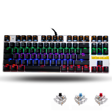 цена на Me Too English/Russian/Spanish gaming Mechanical Keyboard 87/104 keys usb Wired keyboard blue/red/black switch Backlit Keyboard