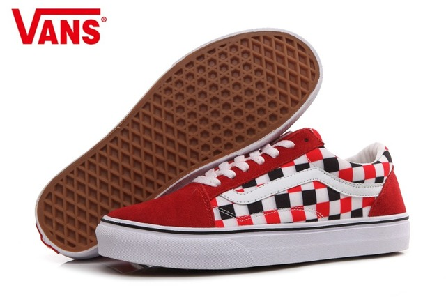 bd762fbf3ca9 VANS Classic Men and Womens Sneakers Checkerboard lattice white red grid  tie canvas shoes