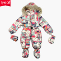 Russia Winter Brand Flower Baby Girl Rompers Newborn Thermal Overalls Snowsuit  Down Cotton Jumpsuit Toddler Girl Winter Coat