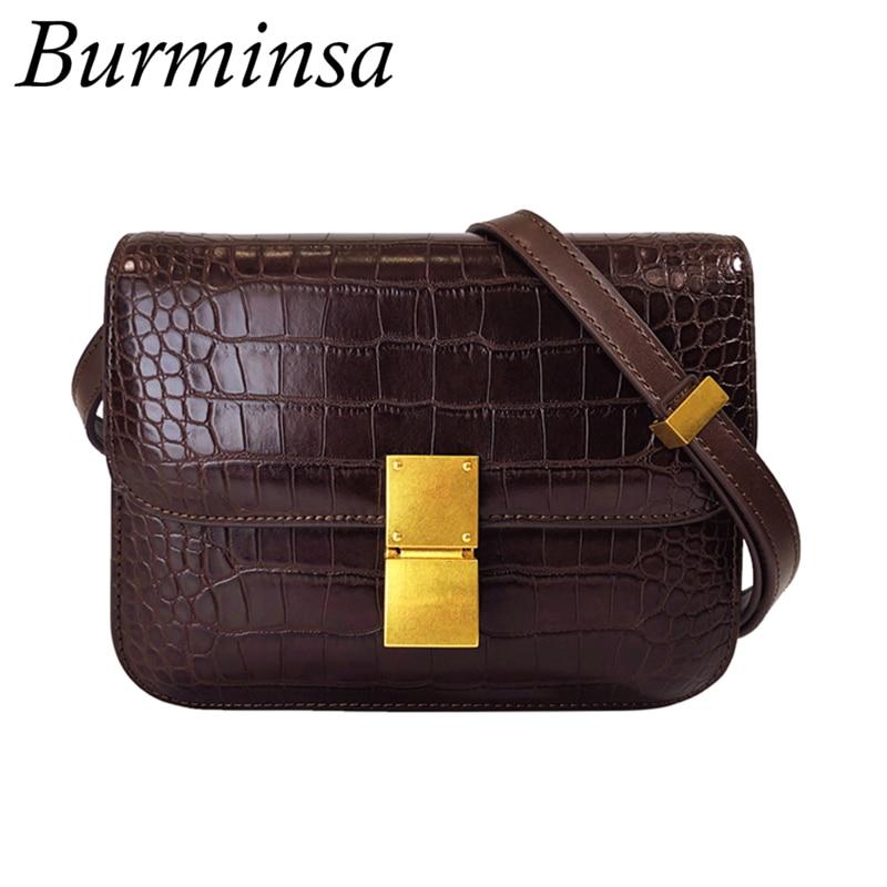 Burminsa boîte Crocodile femmes épaule Messenger sacs petit carré dames sacs à main rétro Designer femme sacs à bandoulière nouveau 2019