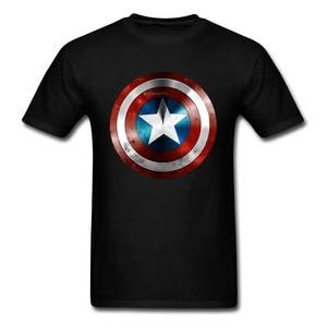 Get This Man A Shield T-shirt Captain America T Shirt 3D Tops Tees Fashion Black Tshirt Avengers Team Clothing Cotton(China)