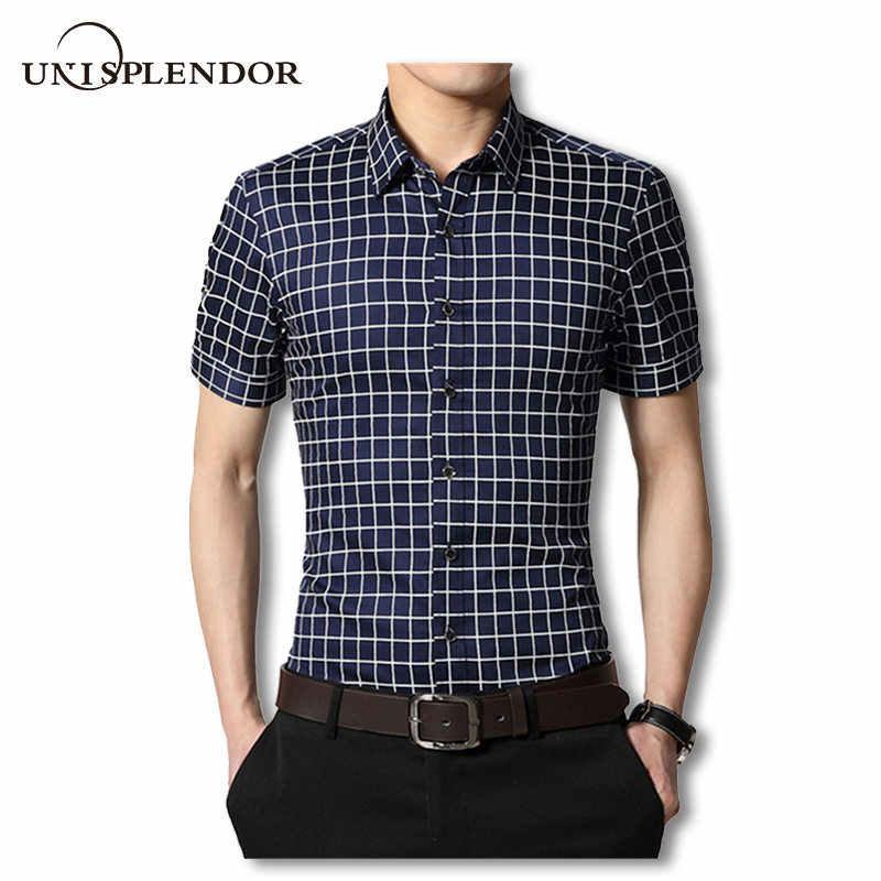 fe8522323fa 2019 Summer Men Dress Shirts Male Short Sleeve Plaid Shirt Cotton Non-Iron  Slim Fit