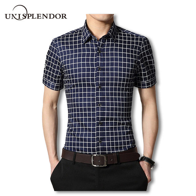 2019 Summer Men Dress Shirts Male Short Sleeve Plaid  Shirt Cotton Non-Iron Slim Fit Casual Plus Size Man Clothing 4XL 5XL YN465