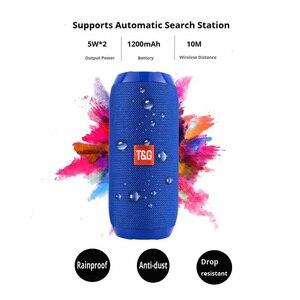 Image 2 - TG117 ワイヤレス Bluetooth ポータブルスピーカーステレオサブウーファー列スピーカー + TF 内蔵マイク低音 FM MP3 サウンドブームボックス