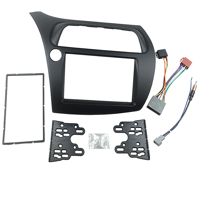 for Honda Civic Radio DVD Double Din Fascia Stereo Panel Dash Installation Trim Kit Face Frame with Wire Harness Antenna  double din fascia fit radio dvd stereo cd panel dash face frame mounting installation trim kit for honda civic