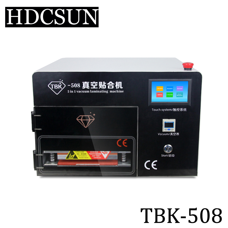LCD Repair Machine Touch Times Latest Upgrade 5 in 1 OCA Vacuum Laminating Machine with Touch Screen, Built-in Pump+Compressor tbk 708 for curved screen oca lcd laminating machine for s6 edge s7 edge bubble remover built in vacuum pump air compressor