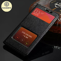 In Call View Window Business 100 Genuine Leather Flip Back Cover Case For Xiaomi Redmi Note2