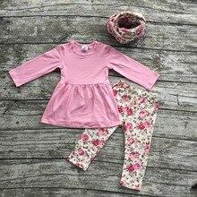 Детские девушки одежды ОСЕНЬ/Зима дети 3 шт. шарф foral розовый роза брюки устанавливает девушки Горячее надувательство бутик детской одежды костюм