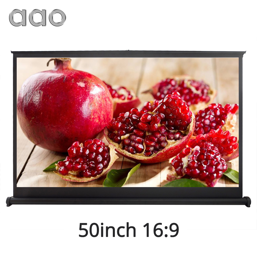 AAO 40 50 inch 16:9 Expandable HD Table Screen Projector Business Meeting Bar School 50INCH LED DLP LCD Micro Projection Screen