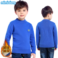 Boys Winter Velvet Sweaters Blue Round Neck Long Sleeves Teenage Kid Knit Pullovers Autumn Thicken Children Knitwear Tops Cotton