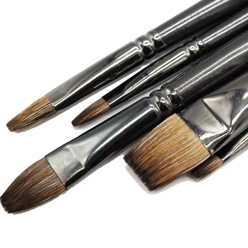 Professional Squirrel Hair Painting Brush Oil Painting Art School Supplies Pen Flat Paint Brush For Gouache Painting Drawing Set