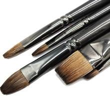 Professionale Capelli Scoiattolo Pennello di Pittura Pittura A Olio di Arte Forniture Scolastiche Penna Pennello Piatto Per Gouache Pittura Tavolo Da Disegno Set