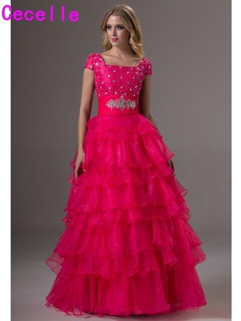 27c5ee6cb5 2019 Modest długa suknia suknie z rękawami długość podłogi fuksja krótkie  rękawy wielowarstwowa Organza nastolatki Prom