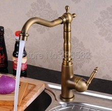 Antique Brass Single Handle Kitchen Faucet Swivel Spout Faucets Basin Mixer Vessel Sink Taps Deck Mounted lsf003