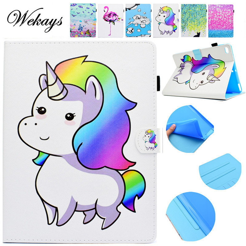 Wekays For Coque Apple IPad Air 2 Cute Cartoon Unicorn Leather Fundas Case For IPad Air2 IPad 6 Tablet Cover Case For IPad Air 2 for ipad air 1 2 cute candy color soft silicone tablet case cover for ipad 5 6 mini 2 3 fashion slim lovely protective sleeve