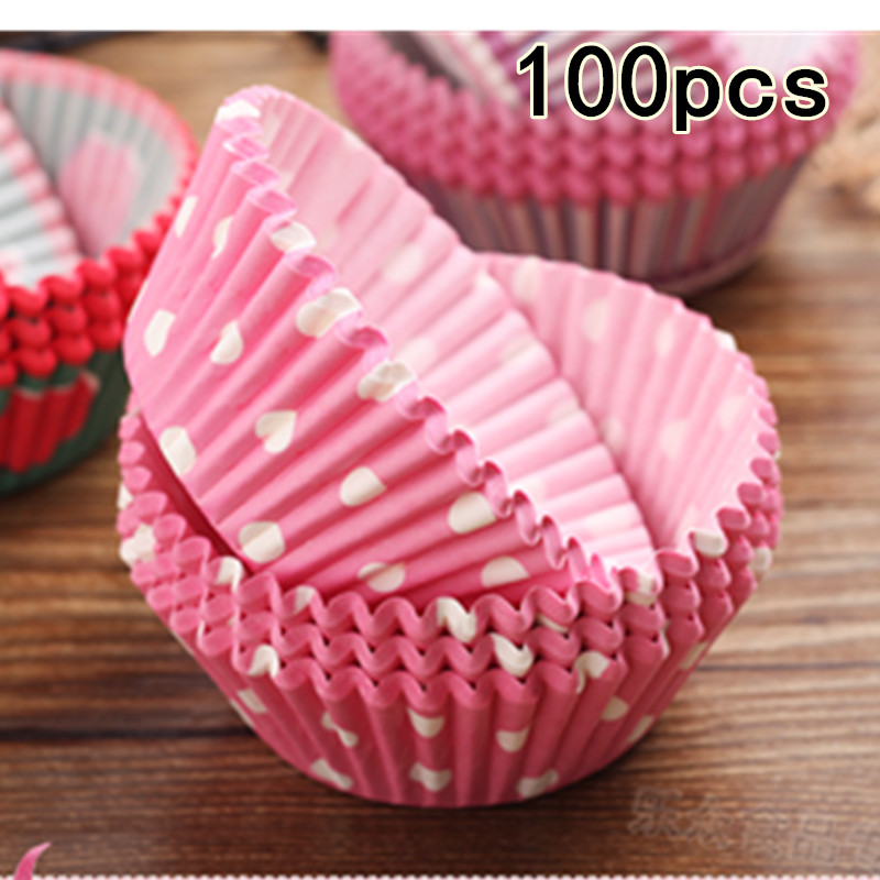 100 50Pcs Colorful Paper Cake Cupcake Liner Baking Muffin Box Cup Case Party Tray Cake Mold Decorating Tools Cupcake paper