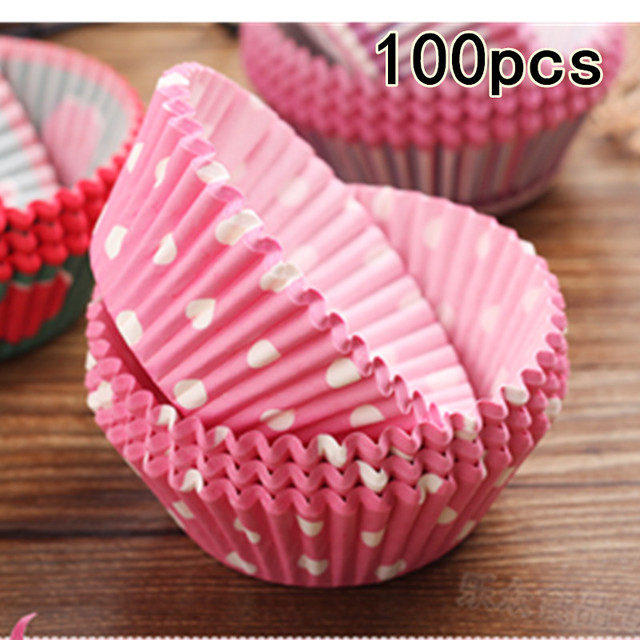 100/50Pcs Colorful  Paper Cake Cupcake Liner Baking Muffin Box Cup Case Party Tray Cake Mold Decorating Tools Cupcake paper