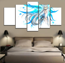 Blue hair girl Game ELSWORD Modular Picture Canvas HD Print Painting 5 Pieces Poster Wall Art Modern Decorative Framework(China)