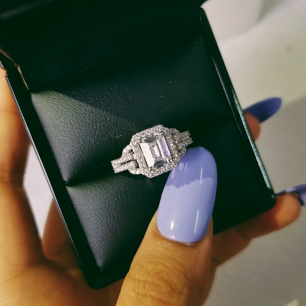 Original solid real 925 Sterling Silver Ring Finger anel aneis CZ Stone for Women Jewelry Pure Wedding Engagement R2101S