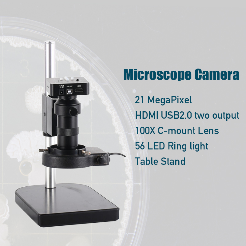 1 Industrial Microscope Camera 21MP High Definition Industrial Microscope Camera with Adapter 2 Output for Laboratory Factory
