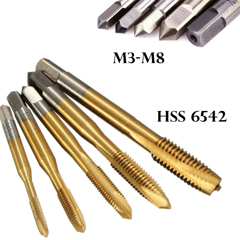 HSS 6542 Spiral Fluted Machine Screw Tap M3 /M4 /M5 /M6 /M8 Titanium Coated Metric Pointed Drill Bit Taps Metalworking Tools maria maria ma131dwirz72