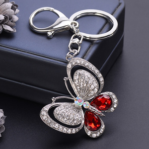EASYA rouge bleu grand strass papillon porte-clés Chaveiro mignon mode cristal insecte pendentif à breloque sac à main accessoires porte-clés(China)
