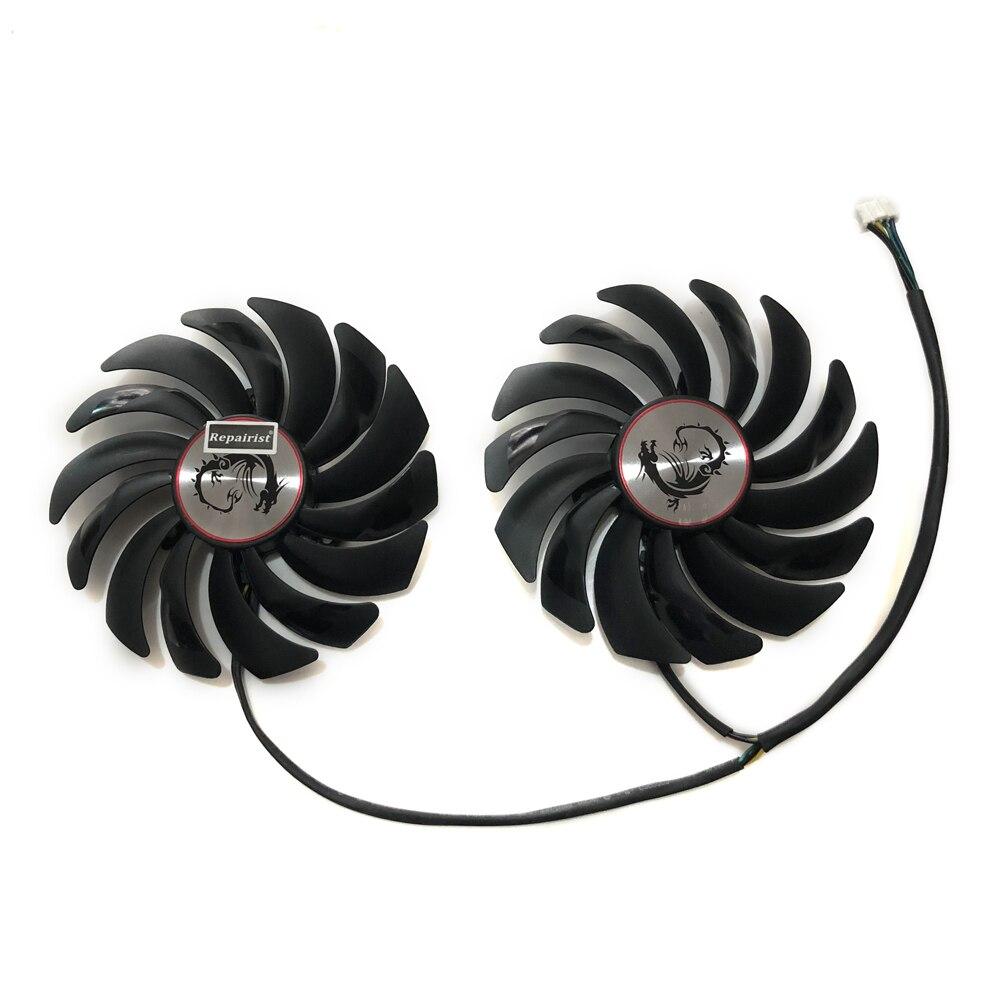 Os Fãs mais frias RX580 RX480 pçs/lote 2 Placa de Vídeo ventilador de refrigeração Para MSI Radeon RX 480 RX 580 asic bitcoin mina GPU da Placa Gráfica Arrefecimento