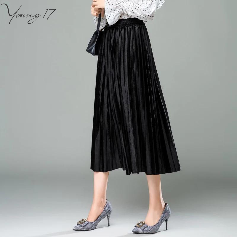 Young17 Sweet Pink Khaki Brown Blue Gothic Black Gray Army Green Elastic Waist Spring Velvet Skirts Women Long Pleated Skirt