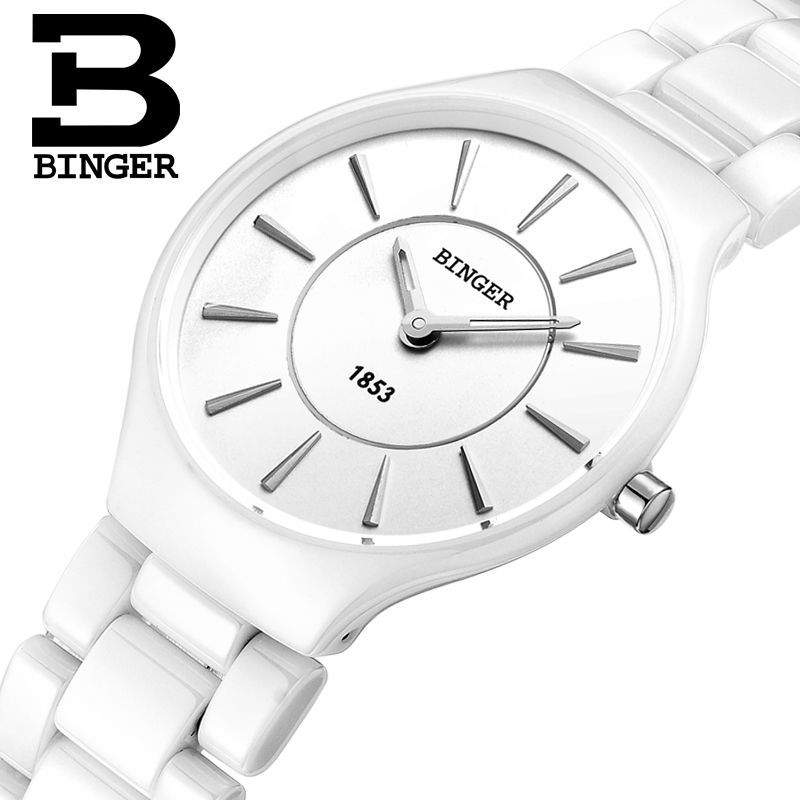 Genuine Luxury Brand Women watch ceramic Mens quartz table BINGER slim and stylish for couple watches ultrathin free shipping popular black skull sports watch silicone bands touch screen led watch women mens free shipping gitt for lovers couple