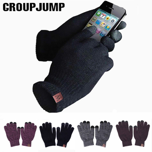 GROUP JUMP 2020 Winter Gloves Women and Men Girls Knitted Mittens Warm Soft Gloves Female Winter Gloves Touch Screen Unisex(China)